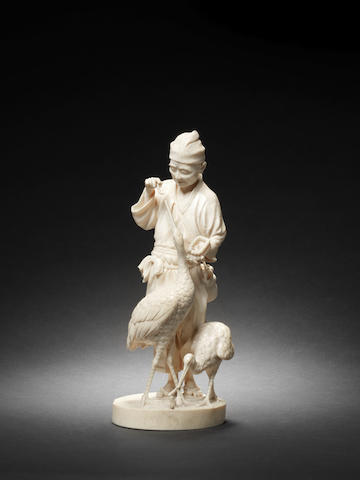 An ivory figure of a farmer and two cranes Attributed to Yamaguchi Ryusui, Meiji Period