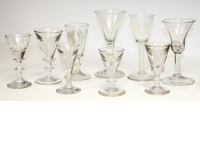 An opaque-twist wine glass, two plain stem glasses and six other deceptive bowl glasses, circa 1760 and later
