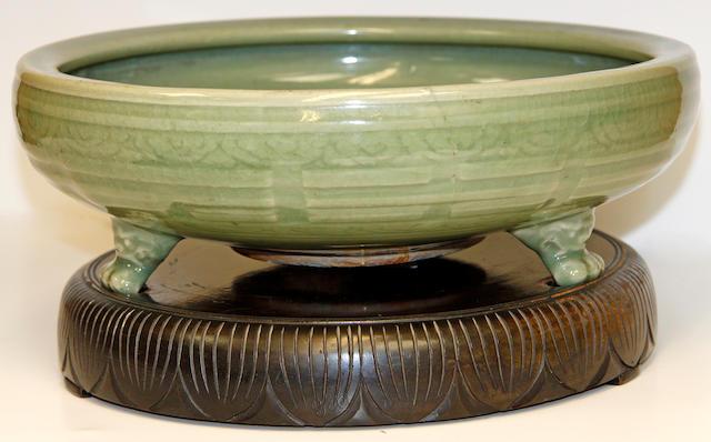 A celadon-glazed bowl
