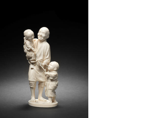 An ivory figural group Meiji Period