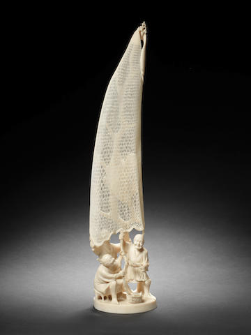 An ivory okimono of four fishermen By Kyoshu, Meiji Period