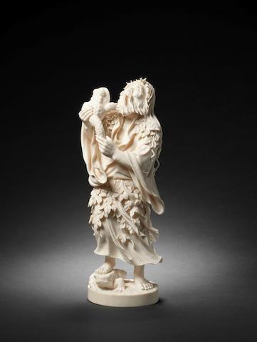 A Tokyo School ivory figure of Gama sennin By Hokufu, Meiji Period