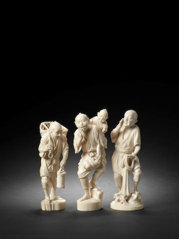 Three ivory figures One by Kyobun and one by Seifu, Meiji Period