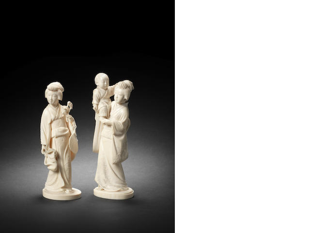 Two ivory figures of bijin Meiji Period