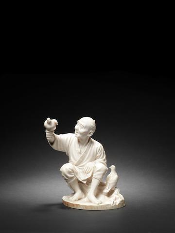 A Tokyo School ivory figure of an old man By Shinmei/Chikaaki, Meiji Period
