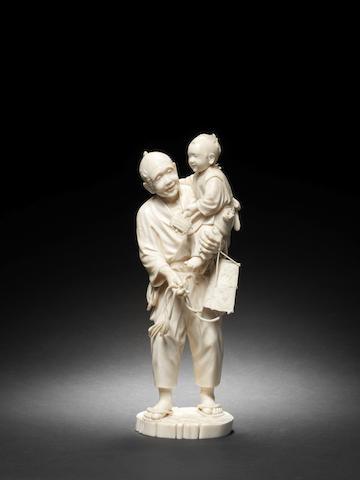A Tokyo School ivory figural group By Hokei, Meiji Period