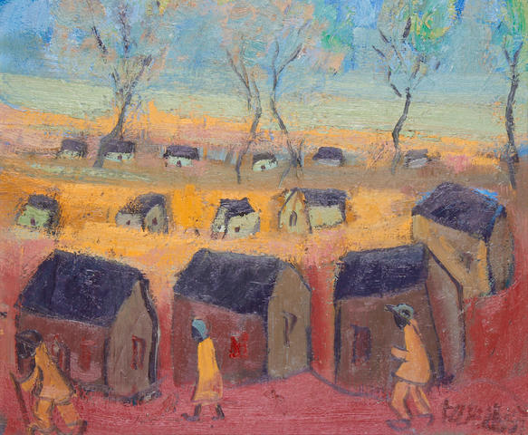 Frans Martin Claerhout (South African, 1919-2006) Landscape with houses and figures