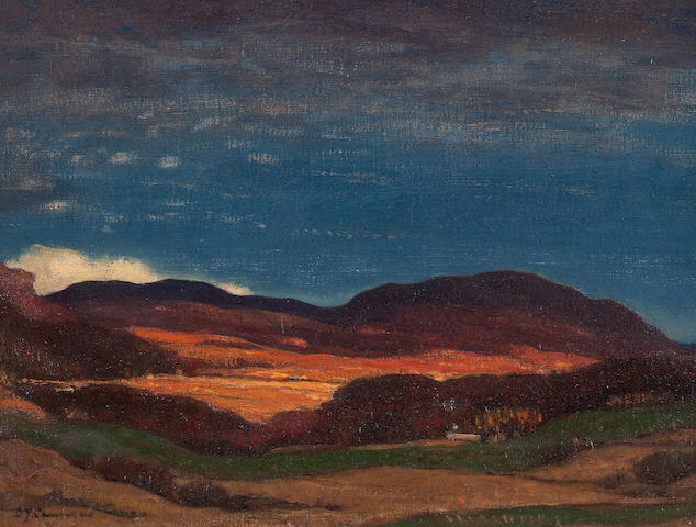 Sir David Young Cameron, RA RSA RWS RSW RE (British, 1865-1945) The Braes of Ben Ledich 28 x 36.5 cm. (11 x 14 3/8 in.)