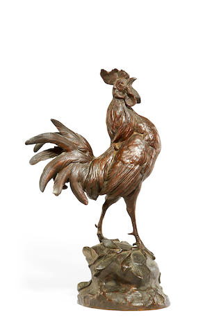Paul Comolera, French (1818-1897) A bronze model of a cockerel