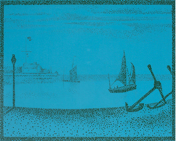 Ian Hamilton Finlay (British, 1925-2006) Three prints The Harbour at Gravelines 'in familiar mottle camouflage', 38 x 47cm; Acrobats, 39 x 28cm, Enchantment An Ear-Alluring Sweetness, 9 x 11cm, all framed and glazed. (3)