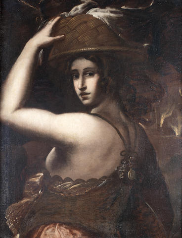 Genoese School, 17th Century A woman carrying a basket on her head