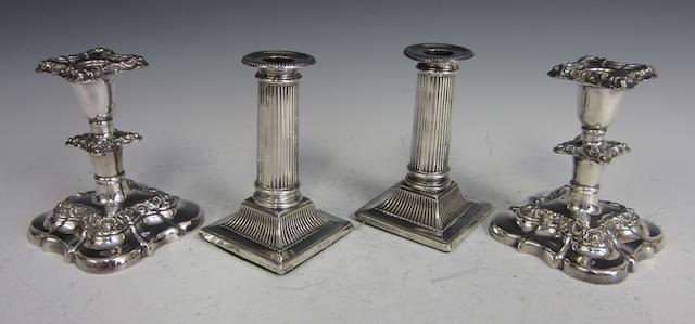 A Victorian silver pair of candlesticks  London 1895  (4)