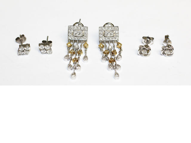 Three pairs of diamond set earrings, (3)