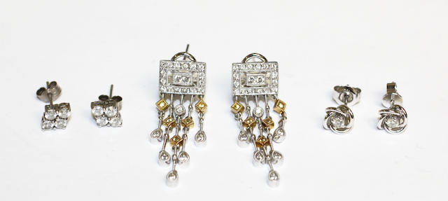 Three pairs of diamond set earrings, (3)