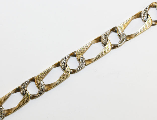 A curb-link diamond bracelet,