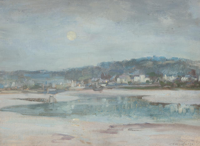William Stewart McGeorge, RSA (British, 1861-1931) Kirkcudbright harbour, moonlight 28.5 x 38 cm. (11 1/4 x 14 15/16 in.)