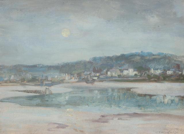 William Stewart McGeorge, RSA (British, 1861-1931) Kirkcudbright harbour, moonlight 28.5 x 38 cm. (11 1/4 x 14 15/16 in.)