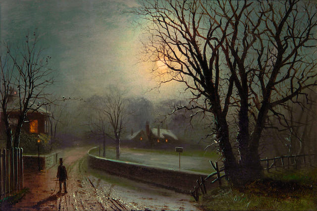 Attributed to Walter Linsley Meegan (British, 1859-1944) Walking by moonlight