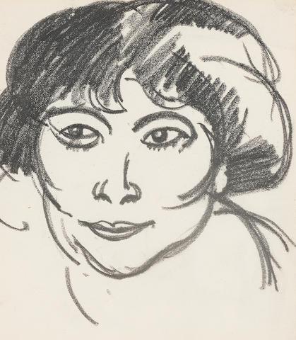 John Duncan Fergusson, RBA (British, 1874-1961) Woman's Head circa 1909 14 x 12.5 cm. (5 1/2 x 4 15/16 in.)