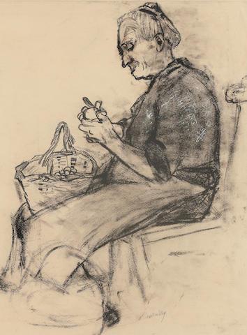 Joan Kathleen Harding Eardley, RSA (British, 1921-1963) Old Woman Peeling Potatoes  57 x 42.5 cm. (22 7/16 x 16 3/4 in.)