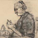 Joan Kathleen Harding Eardley, RSA (British, 1921-1963) Old Woman Peeling Potatoes  57 x 42.5 cm. (22 7/16 x 16 3/4 in.)
