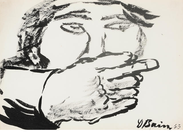 Donald Bain (British, 1904-1979) Man Pointing 18.75 x 26.5 cm. (7 3/8 x 10 7/16 in.)