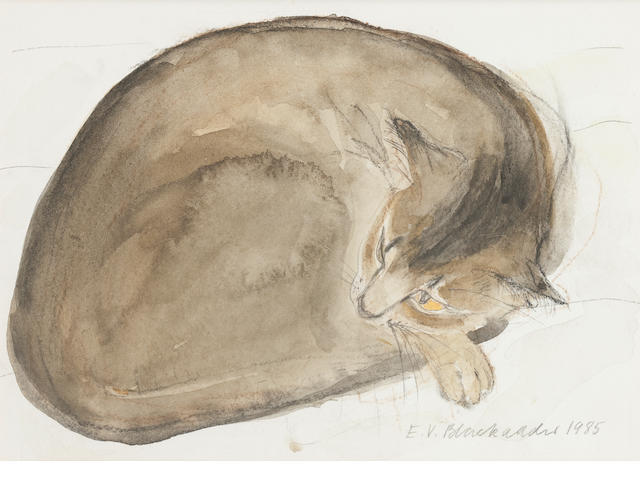 Dame Elizabeth Blackadder, OBE RA RSA RSW RGI DLitt (British, born 1931) Abyssinian Cat Asleep 13.5 x 18.5 cm. (5 5/16 x 7 5/16 in.)