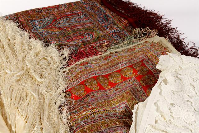 Two printed gauze paisley shawls