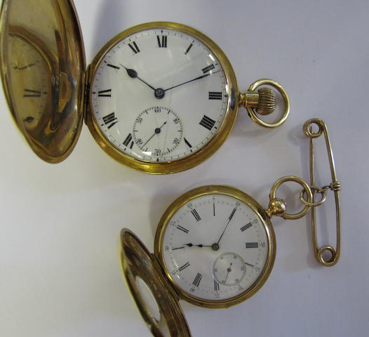 A lot of two 18ct gold pocket watches