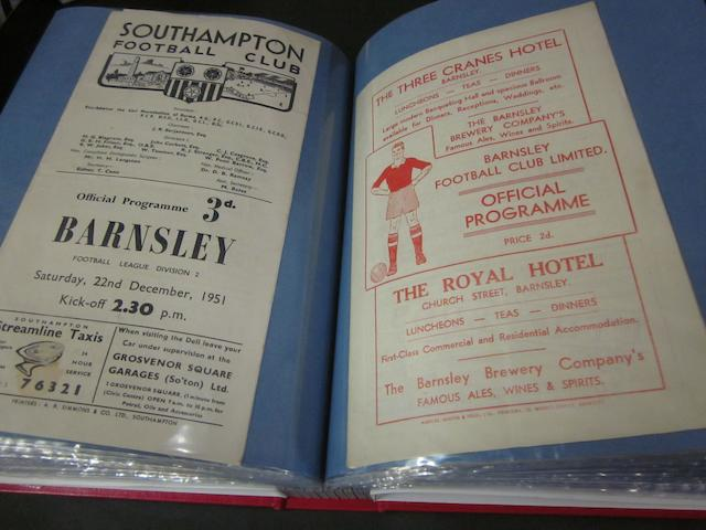 A complete collection of 1951/52 Barnsley home and away football programmes