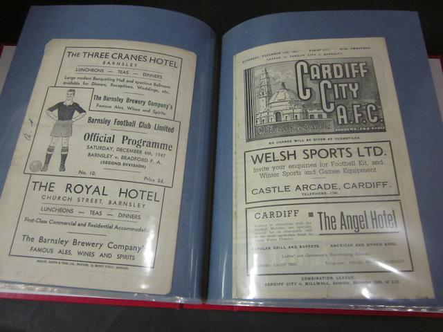 A complete collection of 1947/48 Barnsley home and away football programmes