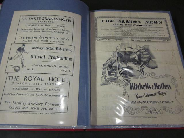 A complete collection of 1946/47 Barnsley home and away football programmes