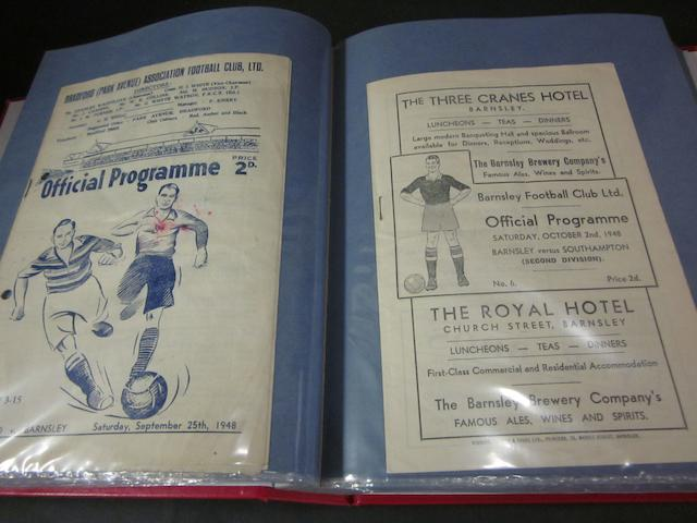 A complete collection of 1948/49 Barnsley home and away football programmes