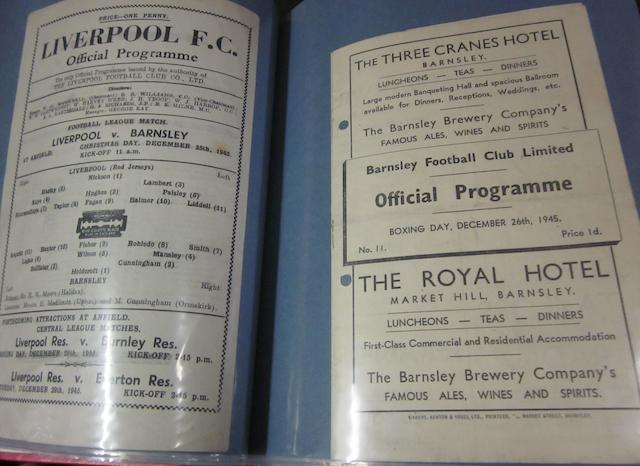A complete collection of 1945/46 Barnsley home and away football programmes