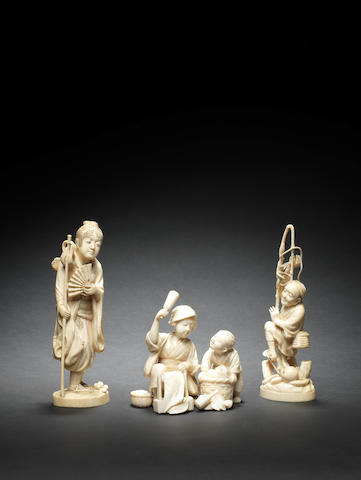 Three ivory okimono One by Masakazu, one by Ryudo, one by Seigai, Meiji Period