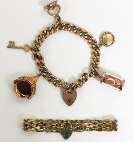 A charm bracelet, (2)