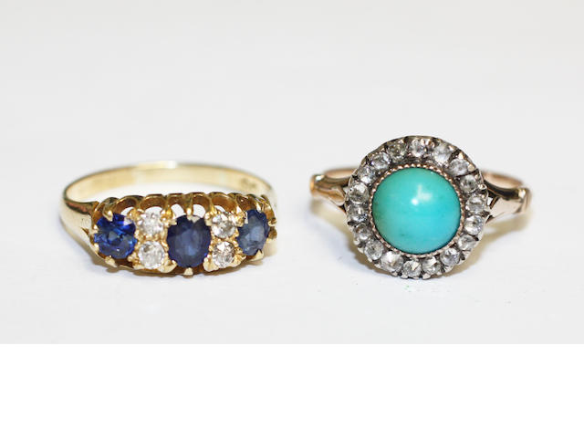 A turquoise and diamond cluster ring and a sapphire and diamond ring (2)