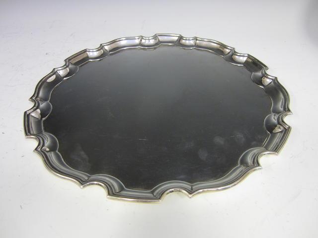 A silver circular salver Birmingham 1913