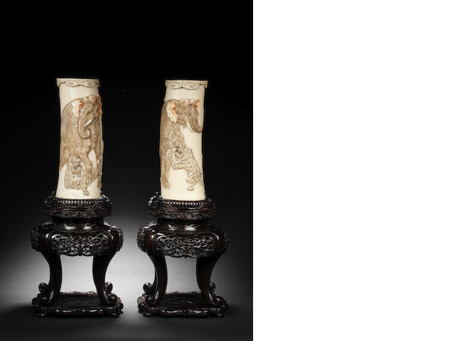 A pair of ivory tusk vases By Yamauchi, Meiji Period