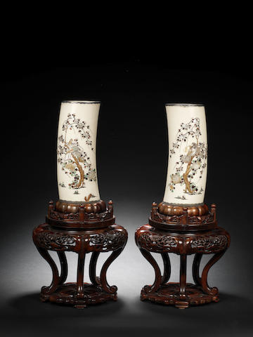 A pair of silver-mounted Shibayama-inlaid ivory tusk vases By Masayuki, Meiji Period