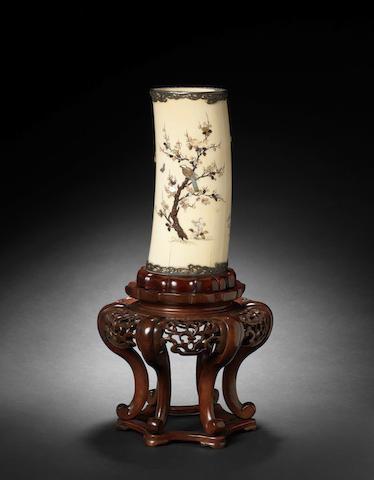 A silver-mounted ivory Shibayama-inlaid tusk vase Meiji Period