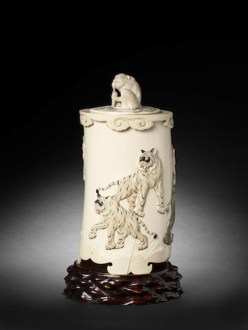 A large ivory tusk vase and cover By Yamauchi, Meiji Period