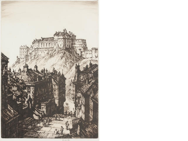 STEEL (KENNETH) Etching of Edinburgh Castle