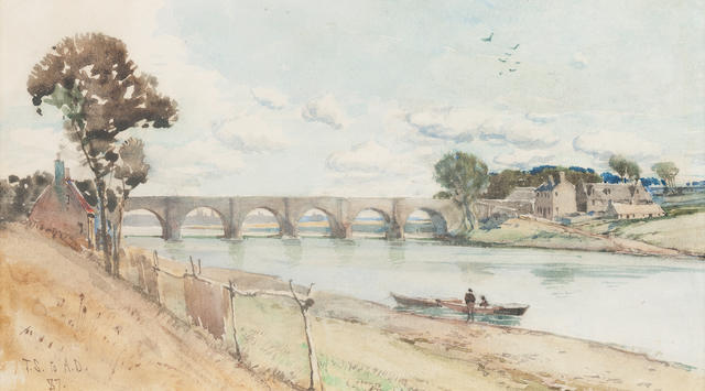 Tom Scott, RSA (British, 1859-1927) Bridge of Dee - Aberdeen 11 x 21 cm. (4 5/16 x 8 1/4 in.)