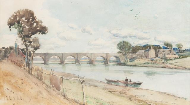 Tom Scott, RSA (British, 1859-1927) Bridge of Dee - Aberdeen 11 x 21 cm. (4 5/16 x 8 1/4 in.)