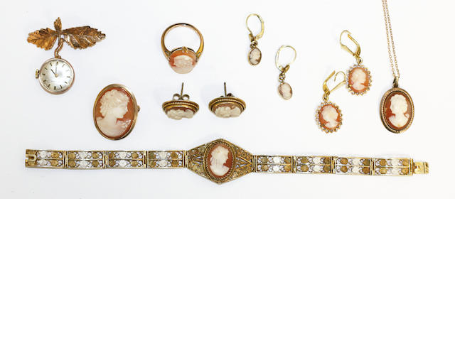 A collection of shell cameo jewellery, (8)