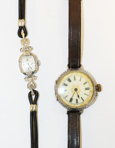 A lady's diamond set wristwatch, by Longines, (2)