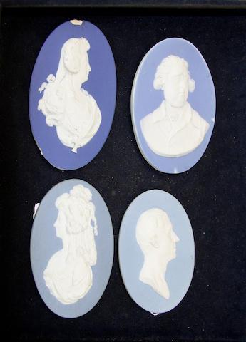 Four Wedgwood portrait medallions, circa 1787-90