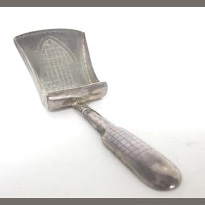 A George III silver caddy spoon maker's mark rubbed, Birmingham 1812,