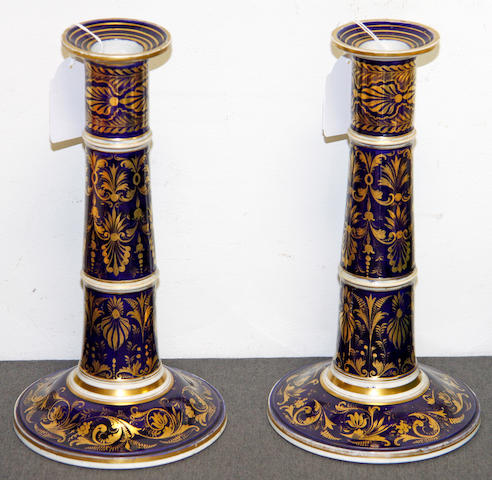 A pair of Derby candlesticks, circa 1825